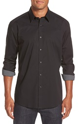 Zagiri 'Little Lion Man' Modern Fit Button Front Sport Shirt Black