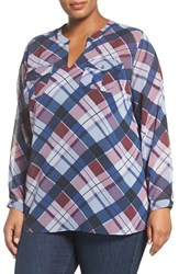 Vince Camuto Plus Size Women's Two By Plaid Fable Split Neck Tunic