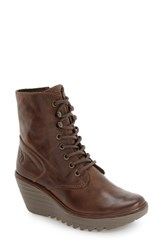 Fly London Women's 'Ygot' Platform Wedge Boot Taupe Nevada Leather