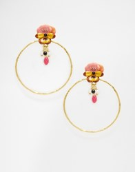 Les Nereides Pansy Hoop Earrings Goldpink