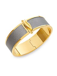 Diane Von Furstenberg Holiday Color Two Tone Leather Bangle Bracelet Pewter Gold