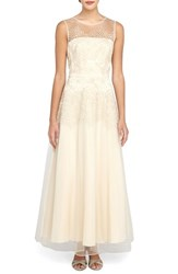 Women's Tahari Floral Embroidered Mesh Gown