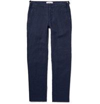 Orlebar Brown Bedlington Slub Linen Trousers Navy