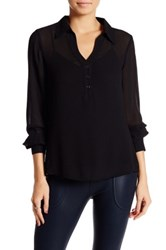 David Lerner Henley Hi Lo Blouse Black