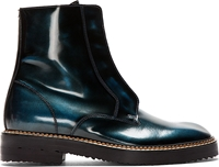 Maison Martin Margiela Black And Teal Burnished Leather Ankle Boots