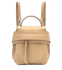 Tod's Wave Mini Leather Backpack Beige