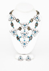 Missguided Multi Gem Statement Necklace And Earring Set Multi