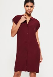Missguided Burgundy Crepe Button Through Collarless Shirt Dress