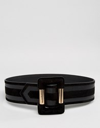 Asos Wide Covered Buckle Waist Belt Black