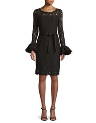 Nue By Shani Scalloped Lace Bell Sleeve Dress Black