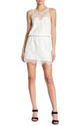 David Lerner Lace Overlay Sleeveless Dress White