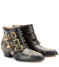 Chloe Susanna Studded Leather Ankle Boots Black