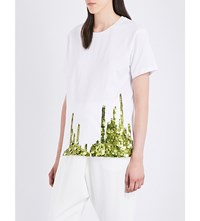 Monse Sequin Embellished Cotton Jersey T Shirt White And Olive