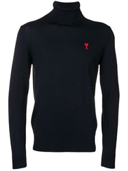 Ami Alexandre Mattiussi Turtleneck Sweater De Coeur Patch Blue