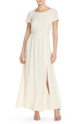 Women's Paper Crown By Lauren Conrad 'Shreveport' Side Slit A Line Crepe Gown Cream