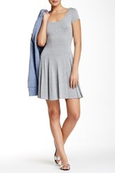 Bcbgeneration Short Sleeve Scoop Neck Flare Dress Gray