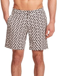Onia Geometric Print Swim Trunks Black White