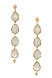 Freida Rothman 14K Gold Plated Sterling Silver Cz Flat Slice Teardrop Earrings Metallic