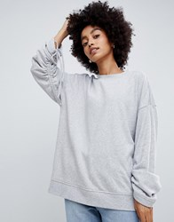 Dr. Denim Dr Sweatshirt With Ruched Sleeve Light Grey Mix