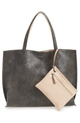 Street Level Reversible Faux Leather Tote And Wristlet Black Pewter Nude