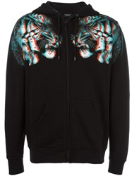 Marcelo Burlon County Of Milan Tiger Print Zipped Hoodie Black