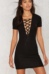 Nasty Gal After Party Vintage Harlow Ribbed Lace Up Dress