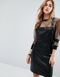 Noisy May Leather Look Dungaree Dress Black