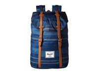 Herschel Retreat Navy Fouta Tan Synthetic Leather Backpack Bags Blue