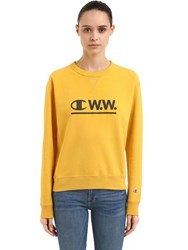 Champion Wood Wood Logo Cotton Sweatshirt Yellow