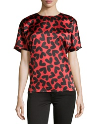 Neiman Marcus Heart Print Short Sleeve Blouse Red Black