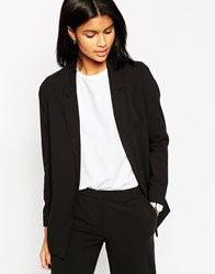 Asos Slim Tailored Jacket In Crepe Black