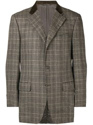 Canali Checked Blazer Brown