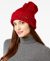 Bcbgeneration Thick And Thin Pom Pom Beanie Only At Macy's Red Ruby