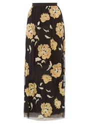 Osman Eva Floral Embroidered Tulle Maxi Skirt Black Gold