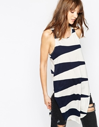 The Furies Mandarin Sleeveless Striped Tunic Dustystone