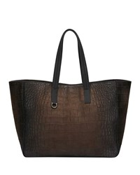 Salvatore Ferragamo Firenze Animal Embossed Leather Shopper Tote Brown