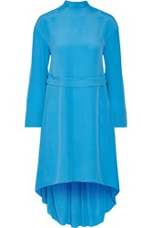 Cedric Charlier Crepe De Chine Dress Bright Blue
