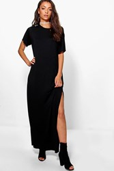 Boohoo Delila Split Side T Shirt Maxi Dress Black
