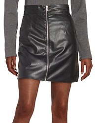 French Connection Front Zip Faux Leather Mini Skirt Black