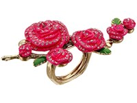 Betsey Johnson Large Rose Cocktail Ring Pink Ring