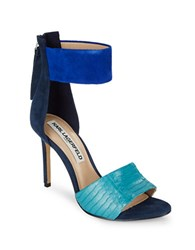 Karl Lagerfeld Laken Suede And Leather Stiletto Heels Navy Turquoise