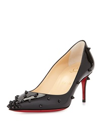 Degraspike Studded Leather Red Sole Pump Black Christian Louboutin