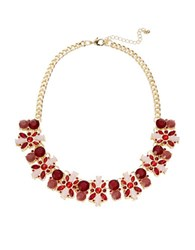 Catherine Stein Floral Cluster Collar Necklace Red
