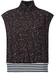 Public School Speckle Patterned Turtle Neck Top Viscose Black