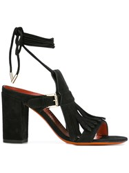 Santoni Buckled Fringed Sandals Black