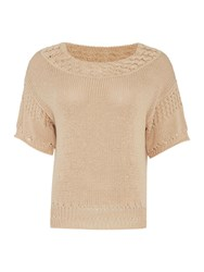 Noa Noa Short Sleeve Knitted Pullover Pink
