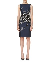 Carolina Herrera Floral Sleeveless Bateau Neck Sheath Dress Navy Black White Dark Navy Black W