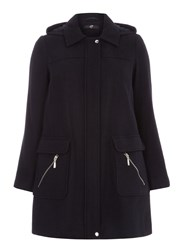 Evans Navy Blue Textured Duffle Coat