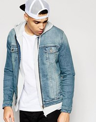 Asos Collarless Denim Jacket In Mid Blue Wash Blue