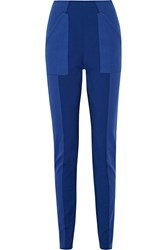 Missoni Stretch Jersey And Textured Knit Slim Leg Pants Blue